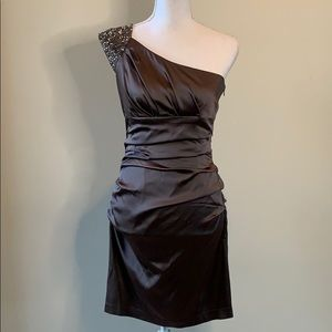 Maggy boutique brown off the shoulder dress
